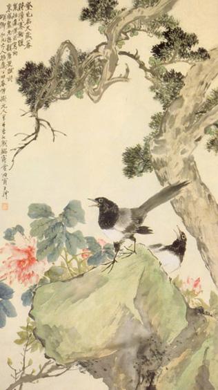 «Pivoine et pies», Wang Li, Dynastie Qing